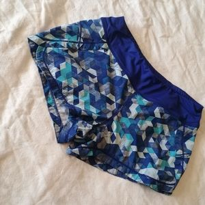 Small Blue Mosaic Athleta Running Shorts w/ Liner